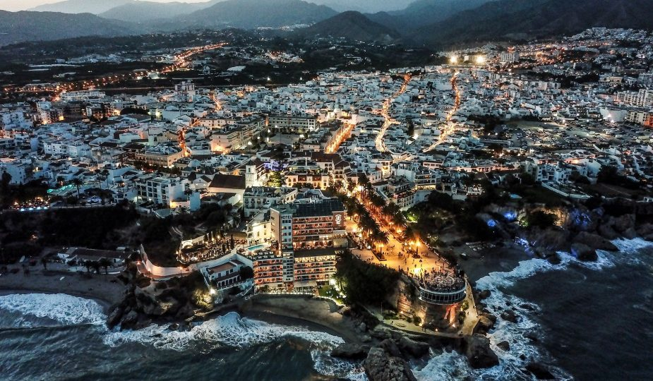 Panoramic evening view of Nerja