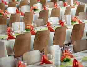 clean comedians: formal dinner tables.