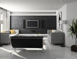 increasing the value of your home: modern black, white and grey themed living room.