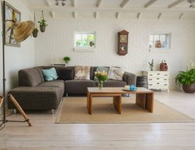 spring clean: tidy and clean living room.