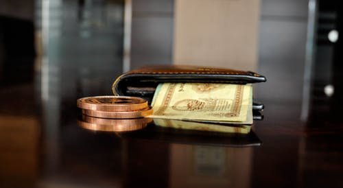 save some cash: wallet with bank notes