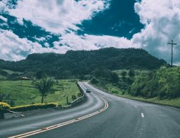 traveling in your car: Open winding road