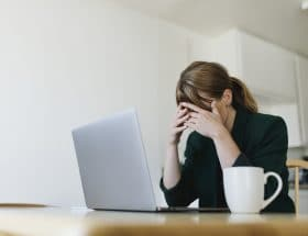 Stressed out at an online counselling session