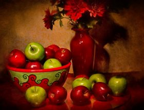 still life art: painting of fruit bowl with fruit