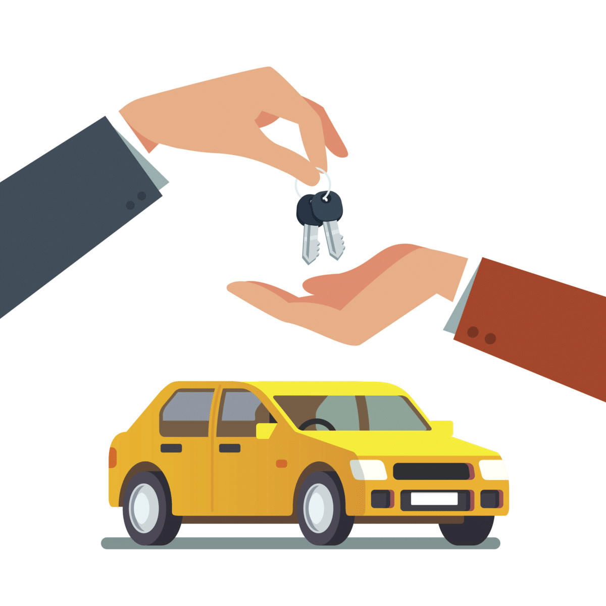 buying a used car: graphic of yellow car and one hand giving another person's hand a car key.