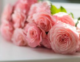 flower colour meanings: bouquet of pink roses.
