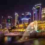 Singapore skyline at night: first trip to Singapore