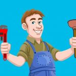 Cartoon image of plumber holding up his tools: Plumbers Wallangong.