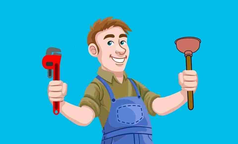 Cartoon image of plumber holding up his tools: Plumbers Wallangong.