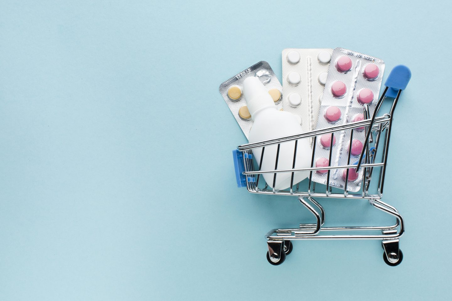 mini trolley with blister packs and plastic eye drop bottle online prescription service