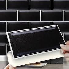 Black sticker tiles: Rented Kitchen