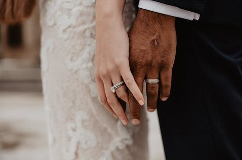 wedding planning: bride and groom touching hands